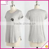 Black embroidery grey jersey knit casual women top 2016