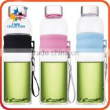 double wall glass bottles manufacturer selling glass tea infuser water bottle with bamboo lid