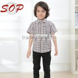 Handsome boys check clothes plaid shirt kids fashion check shirts for 2016 summer wear