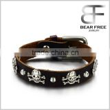 Skull and Crossbones Black Leather Bracelet Gothic Biker Pirate Skeleton Halloween Jewelry