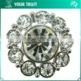 Flower Clear Crystal Aerolite Rhinestone Silver Metal Nickel Free Shank Rhinestone Button