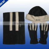 Mens custom brand logo knit winter fleece scarf hat gloves sets