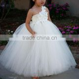 2015 Fashion Ivory Flower Girl tutu Dresses For Wedding Kid Ball Gown Dresses For Wedding Fluffy Floor Length Children Dresses