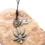 Vintage Genuine Leather Necklace with Antique Brass Maple Leaf Pendant.