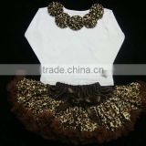 Chiffon Princess Skirt Sets Brown Flower Decorative O-Neck White Full Sleeve Blouse Baby Clothes Wholesale