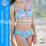 2014 rose print push up and strappy women's swimwear www. china sexy girl photo, swimsuit www sex. photos com