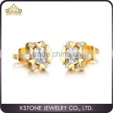 KSTONE fashion jewelry new products crystal diamond earrings gold cheap flower earrings designs for girls