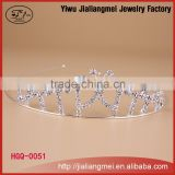 2015 high quality silver plated princess pageants round crown and tiara