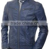 men fashion leather jacket & dark blue color
