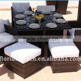 2011 Newest Comfortable PE Rattan and Aluminum Frame Outdoor Dinning Table