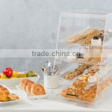 Bakery Display Cake Case with 3 Tiers open door bread storage box food bins