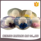 Promotional Custom Made Ladies Fashion Wide Brim Hat Floral Bowknot Women Beach Straw Hats
