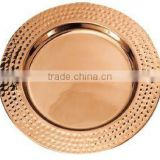 Hammered boarder copper charger plate