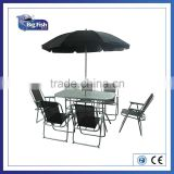 8 piece garden Rectangular patio furniture with 6 folding Chairs & 1table & Parasol