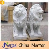 Hand carved marble norton factory western statue of lions for sale NTBM-L007Y