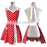 Lovely Red Retro Kitchen Aprons Woman Girl Cotton Polka Dot Cooking Salon Pinafore Vintage Apron Dress Christmas