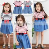 baby dress kids jeans skirt with stirp t-shirt