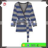 Comfortable Slip On 100% Cotton Womens Loungewear with Attached Belt in Colorful Stripes