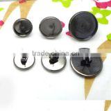10mm 12mm 16mm Gunmetal Black Ear Studs Blank Base Cabochon Bezels Setting Round Earring Tray For Jewelry Making