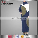 Islamic loose dress malaysia Indonesia bat sleeve long dress knitting navy blue dubai kaftan abaya muslim women maxi dress