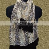 Silk Pashmina with Leather Sued Trim Shwals For 2016