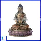 resin male buddha statues with copper effect sitting on the lotus