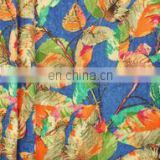Blue Cordate Leaf Woolen Printed Fabric