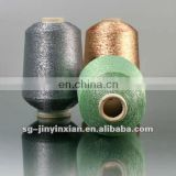 metallic yarn with colored elastic nylon thread