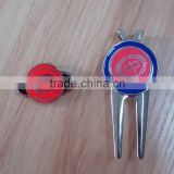 high school golf item, oval metal hat clip, round golf ball marker, zinc alloy divot tool