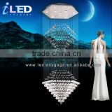 Modern Ceilling hanging Free LED bulbs Stainless steel crystal chandelier ceiling light