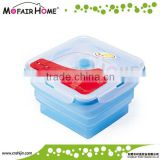 Square foldable silicone lunch boxes with lockable lids                                                                         Quality Choice