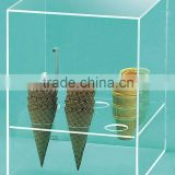 retail clear counter custom acrylic ice cream cone display showcase desktop ice cream gelato box