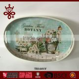 Eco-Friendly High Quality Serving Trays Flowers Wooden Tray For Home&Garden Oval Shape Customized Design