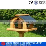Slate roof tile for bird feeder and House with wooden stand
