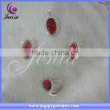 New beautiful design fashion big natural red corundum hot selling thai sliver jewelry set (9355T6)