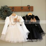 free shippining 2015 girls vintage style lace dress black and white princess skirt long sleeve princess dress100-140cm