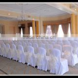 cheaper polyester white jacquard chair cover with white sheer ribbon for any celebration party