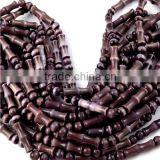 "Plum Colour Monalisa Beads,Approx 5mm Round And 5x17mm Tube Shape Beads 15"" Long Strand"