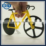 Bicycle Pizza Cutter Dual Stainless Steel Bike Pizza Cutter Wheel Yellow & Black