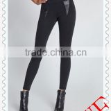 Hot! 2014 wholesale Fashion black strip shiny high waisted faux leather leggings