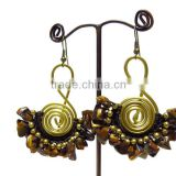 0009 HANDMADE JEWELRY Set Dangle Brown Tiger's Eye STONE Brass Wired Stitch Woven Beaded Earrings from THAILAND