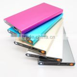 Mobile Phone Thin metal power bank polymer lithium battery with led lamp