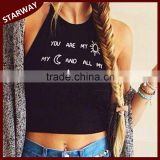 Women's new fashion Letter boutique design girls sexy crop top/