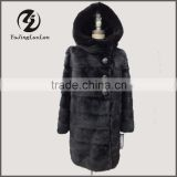 elegance design mink fur trim real fur hooded coat winter women