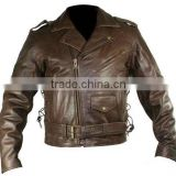 Mens Brown Leather Motorcycle Jacket with Side Laces
