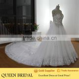 Real Sample Heavy Beaded Rhinestone Dubai Muslim Wedding Dress Sweetheart