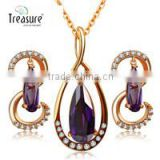 IN STOCK yiwu 2015 fashion jewelry set 18k gold plated purple crystal jewelry set
