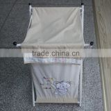 folding laundry basket in 100% cotton fabric with bear embroidery in metal or wood stand