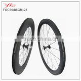 Chris King hub +Sapim cx-ray spokes mixed carbon clincher wheels 50mm front 88mm rear 20H/24H High end bicycle carbon wheelset