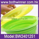 new arrival multi-function camping silicone bowl with cover silicone collapsible travel bowl with cover	,MW038